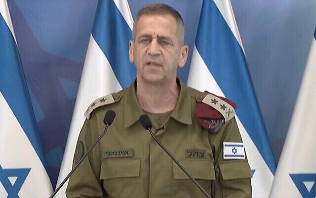 Le chef d'état-major de Tsahal Aviv Kohavi, lors d'une conférence de presse après le cessez-le-feu avec Gaza, le 21 ma1 2021. (Screenshot)