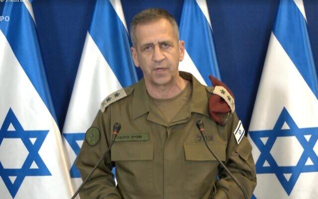 Le chef d'État-major israélien Aviv Kohavi  lors d'une conférence de presse, le 16 mai 2021. (Capture d'écran)