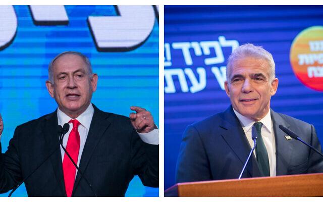 Le Premier ministre Benjamin Netanyahu, à gauche, et Yair Lapid, à droite. (Crédit : Flash90)