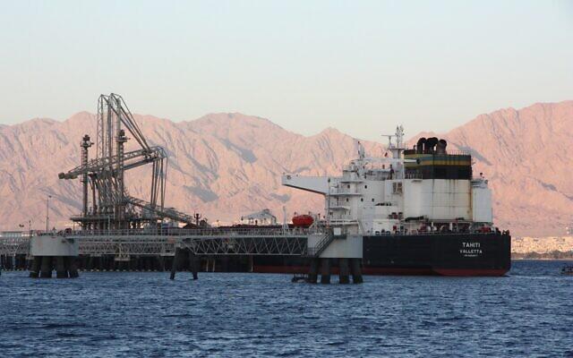 Un pétrolier accoste à Eilat. (Autorisation, Shmuel Taggar, Environnement du désert et de la mer, Eilat)