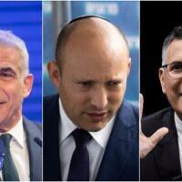 De gauche à droite : le leader du parti Yesh Atid, Yair Lapid. (Crédit : Miriam Alster/Flash90); le dirigeant du parti Yamina, Naftali Bennett et le responsable de Tikva Hadasha, Gideon Saar.( Crédit : Yonatan Sindel/Flash90)
