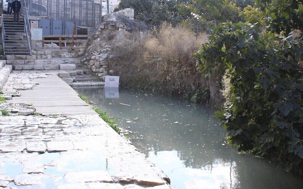Le bassin de Siloam dans la cité de David, à Jérusalem. (Crédit :  Shmuel Bar-Am)