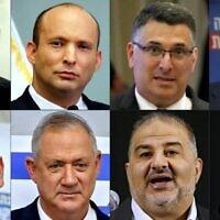 De haut en bas, de gauche à droite : le chef de Yesh Atid Yair Lapid, le chef de Yamina Naftali Bennett, le chef de Tikva Hadasha Gideon Saar, le chef d'Yisrael Beytenu Avigdor Lieberman, le chef du Meretz Nitzan Horowitz, le chef de Kakhol lavan Benny Gantz, le chef de Raam Mansour Abbas et la cheffe du parti travailliste Merav Michaeli. (Crédit : AFP)
