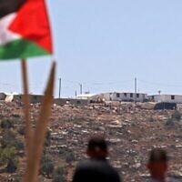 Illustration : des manifestants palestiniens participent à une manifestation contre l'avant-poste de colonisation Evyatar, au sud de Naplouse, le 4 juin 2021, en Cisjordanie. (Photo de JAAFAR ASHTIYEH / AFP)