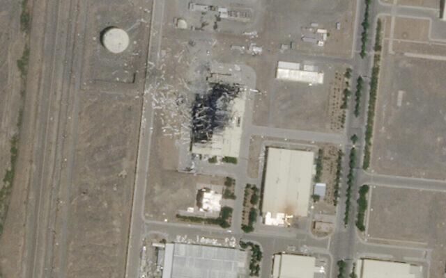 Les suites d'une explosion et d'un incendie dans une usine d'assemblage de centrifugeuses avancées sur le site nucléaire iranien de Natanz, le 5 juillet 2020. (Planet Labs Inc. via AP)