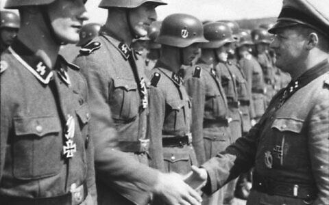 """Image illustrative non datée de la division Waffen-SS """"Wiking"""" en Russie. (Crédit : CC BY-SA Bild National Archives, Wikimedia Commons)"""