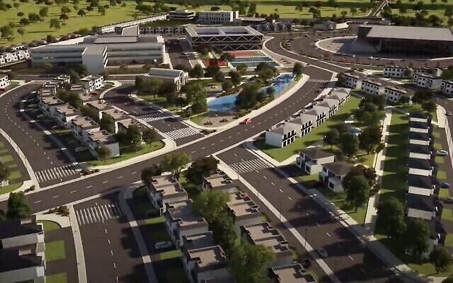 "Un rendu numérique de ce à quoi ressemblera la ""Ciudad de la Tora"" (ville de la Torah) à Ixtapan de la Sal, au Mexique. (Crédit: Capture d'écran de YouTube via JTA)"