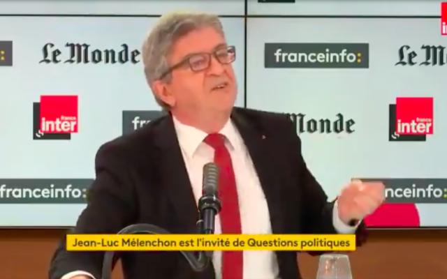 """Jean-LucMélenchon dans l'émission """"Questions politiques"""" (France Inter/Le Monde/Franceinfo), le 6 juin 2021. (Capture d'écran France Inter/Le Monde/Franceinfo)"""