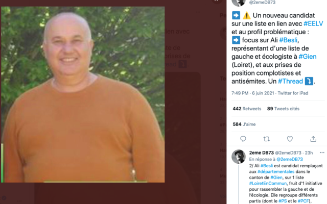 Ali Besli, candidat remplaçant aux prochaines élections départementales sur une liste du Loiret en lien avec des partis de gauche, est accusé d'avoir exprimé des positions complotistes et antisémites sur les réseaux sociaux.