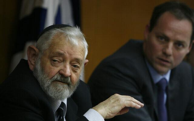 L'ancien juge de la Cour suprême Tzvi Tal à la Knesset à Jérusalem, le 17 novembre 2009. (Crédit : Miriam Alster/FLASH90)