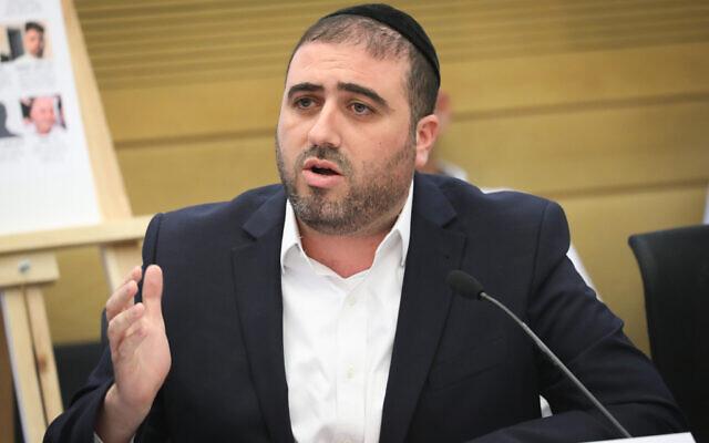 Le député du Shas, Moshe Arbel, lors d'une conférence sur les catastrophes survenues sur des sites de construction en Israël, le 27 mai 2019. (Crédit :  Noam Revkin Fenton/ Flash90/ File)