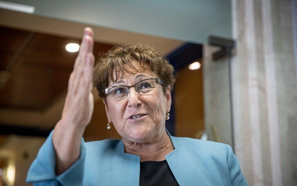 Presidential candidate Miriam Peretz seen at the Knesset, the Israeli parliament in Jerusalem, June 1, 2021. Photo by Yonatan Sindel/Flash90 *** Local Caption *** מרים פרץ בחירות נשיאות המדינה מבקר מועמדת נשיאות