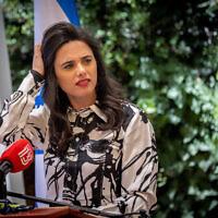 La ministre de l'Intérieur Ayelet Shaked lors d'une cérémonie au ministère de l'Intérieur à Jérusalem, le 14 juin 2021. (Crédit : Yonatan Sindel/Flash90)