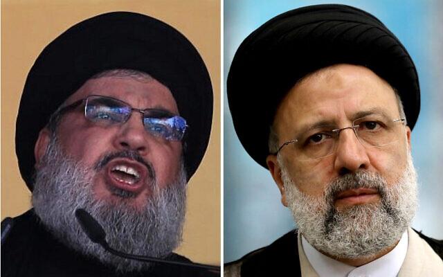 A droite, le leader du Hezbollah  Hezbollah leader Hassan Nasrallah fait un discours à Beyrouth, au Liban, le 24 octobre 2015. Crédit : AP Photo/Hassan Ammar, File)/A gauche, Ebrahim Raisi à Téhéran, en Iran, le 18 juin 2021. (Crédit :  AP Photo/Ebrahim Noroozi)