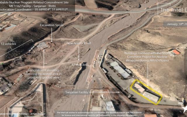 Des véhicules et des excavations vus sur un site à Sanjarian, près de Téhéran, précédemment identifié comme un site de recherche nucléaire iranien, sur une image satellite du 18 janvier 2021. (Crédit : The Intel Lab/Maxar)