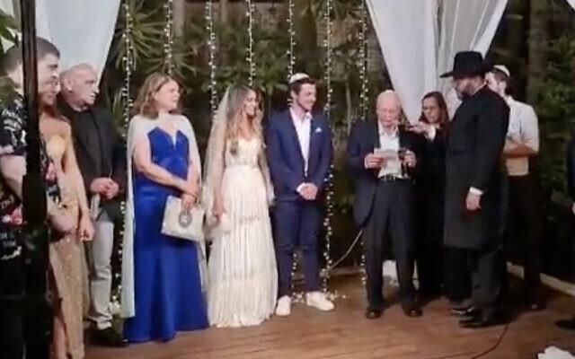 Gilad Shalit épouse Nitzan Shabbat, le 23 juin 2021. (Capture d'écran :  Twitter)