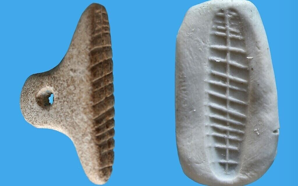 Le sceau en calcaire de Tel Tsaf (Crédit : V. Naikhin / Université hébraïque)