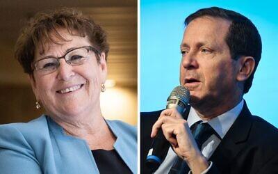 Les candidats à la présidence Miriam Peretz et Isaac Herzog (Crédit : Flash 90)
