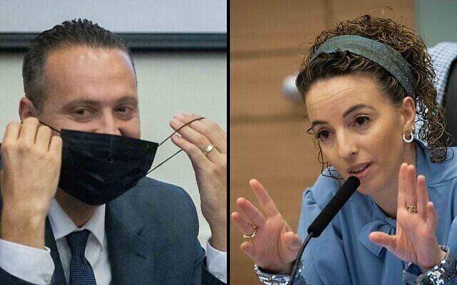 Les députés Idit Silman de Yamina (à droite) et Miki Zohar du Likoud assistent à une réunion du comité des dispositions à la Knesset à Jérusalem, le 28 juin 2021 (Crédits:image composite : Yonatan Sindel/Flash90).