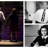 """Dans le sens des aiguilles d'une montre, à partir de la gauche : plan fixe de la pièce """"Anne et Emmett"""" (Autorisation) ; Emmett Till, et Anne Frank. (Domaine public)"""