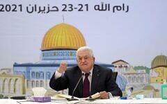 Le président de l'Autorité palestinienne Mahmoud Abbas lors d'une réunion du Conseil révolutionnaire du Fatah dans un discours retransmis le mercredi 23 juin 2021. (Crédit : WAFA)