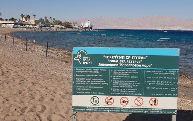 Un pétrolier amarré au port de l'EAPC à proximité de la réserve naturelle de la barrière de corail d'Eilat, dans le sud d'Israël. (Crédit : Société pour la protection de la nature)