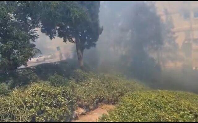 La scène d'un incendie à Haïfa, le 30 juin 2021. (Capture d'écran)