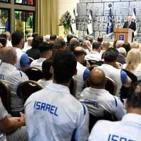 Le président Reuven Rivlin rencontre les équipes olympiques et paralympiques israéliennes le 23 juin 2021 (Amos Ben Gershom/GPO).