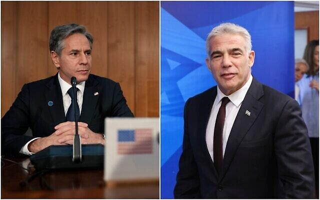 Le secrétaire d'Etat américain Antony Blinken (g) et le ministre des Affaires étrangères israélien Yair Lapid. (AP/Montage)