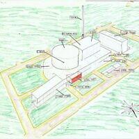 Un schéma en couleur de l'usine nucléaire d'Osirak provenant d'un dossier des renseignements israéliens et rendu public le 22 juin 2021. (Crédit : Ministère de la Défense)