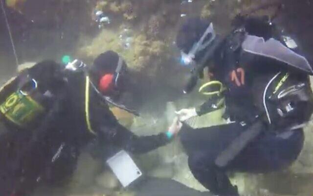 Capture d'écran d'une vidéo montrant le parc national sous-marin de Césarée, en Israël. (Capture d'écran : Treizième chaîne)