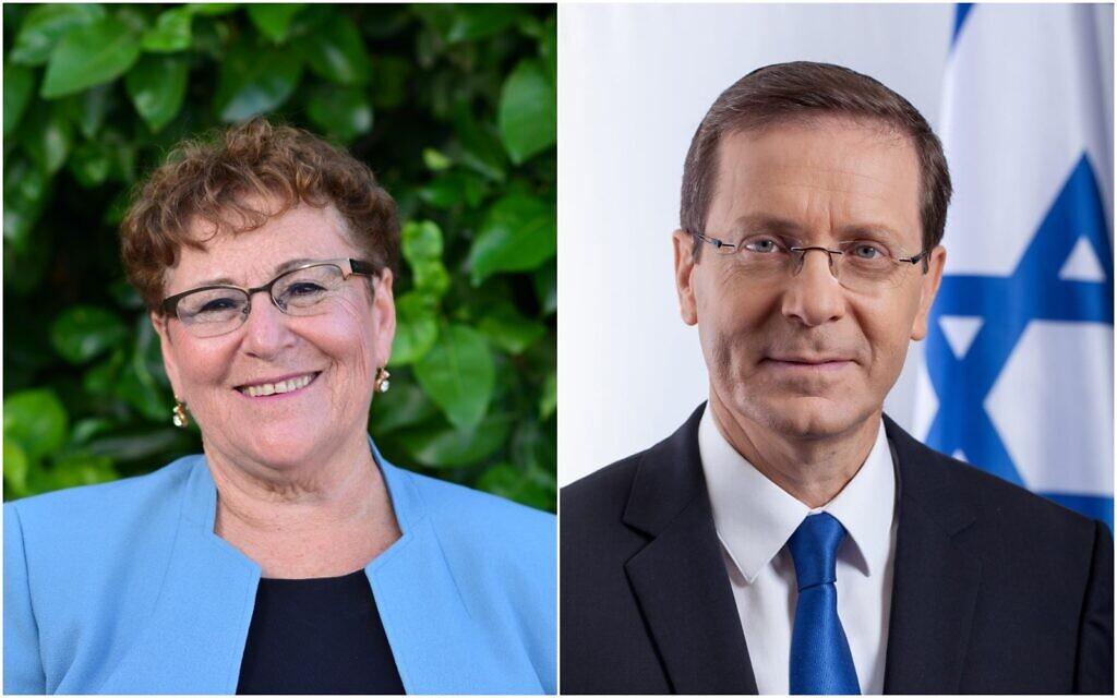 Les candidats à la présidence Miriam Peretz et Isaac Herzog (Crédit : Meir Elifor)