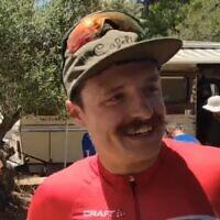Vlad Logionov après avoir remporté les championnats israéliens de course sur route, le 19 juin 2021. (Capture d'écran vidéo)