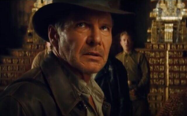 Harrison Ford dans Indiana Jones et le Royaume du crâne de cristal, 2008 (Crédit : capture d'écran vidéo)