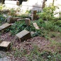 Des stèles renversées et détruites au cimetière juif de Wroclaw, en Pologne, le 16 juin 2021. (Autorisation : Communauté juive de Wroclaw via JTA)