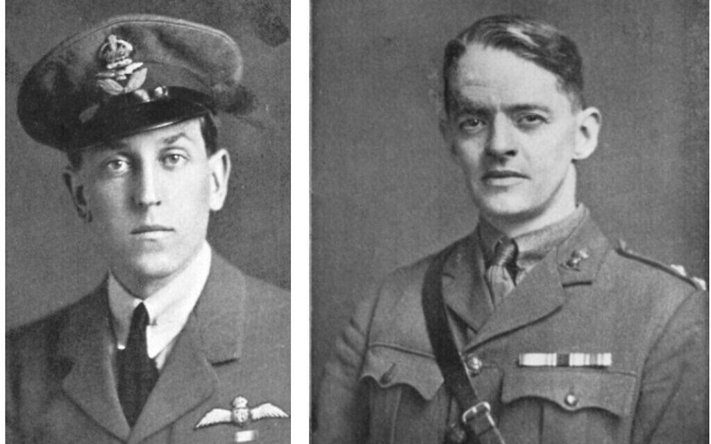 """De gauche à droite : Cedric Waters Hill, vers 1915, et Elias Henry Jones, vers 1915. (Crédit : Jones, """"The Road to En-Dor"""", 1919)."""
