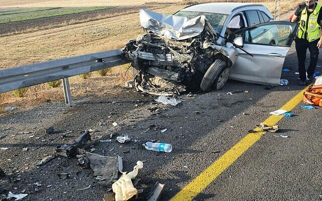 La scène d'un accident de la route près de Haïfa, le 2 juillet 2021. (Crédit : United Hatzalah)