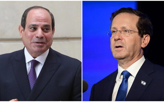 Le président égyptien Abdel-Fattah el-Sissi (G) lors d'une conférence de presse en France, le 7 décembre 2020, et le président israélien Isaac Herzog (D) lors d'une cérémonie de remise de diplômes au National Security College à Glilot, dans le centre d'Israël, le 14 juillet 2021.(Crédit : AP/Michel Euler, Tomer Neuberg/Flash90)