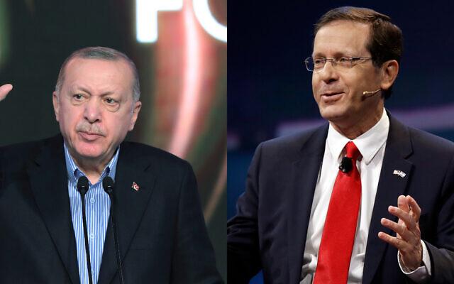 Le président turc Recep Tayyip Erdogan (gauche) et le président israélien Isaac Herzog (droite). (Crédit : AP)