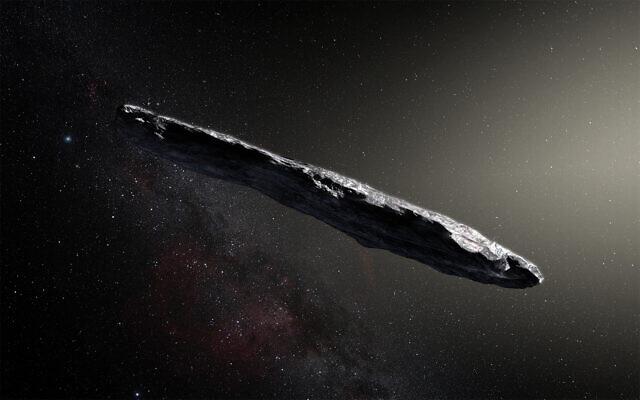 Une impression d'artiste de l'astéroïde interstellaire Oumuamua. Le scientifique Avi Loeb pense qu'il pourrait s'agir d'un artefact extraterrestre. (Crédit : avec l'aimable autorisation de l'Observatoire européen austral, M. Kornmesser)