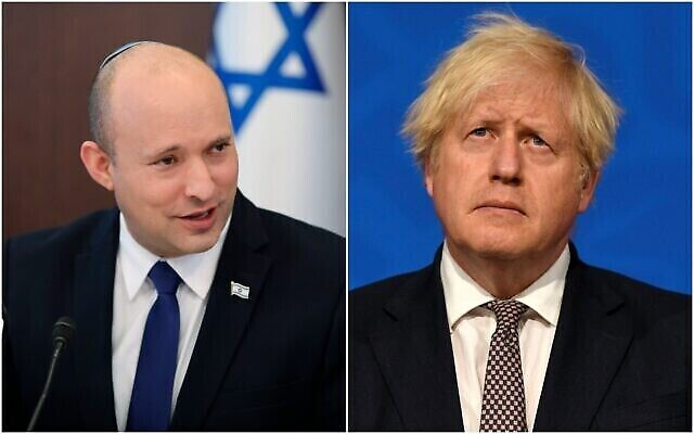Le Premier ministre Naftali Bennett et le Premier ministre britannique Boris Johnson. (Crédit : Composite/AP)