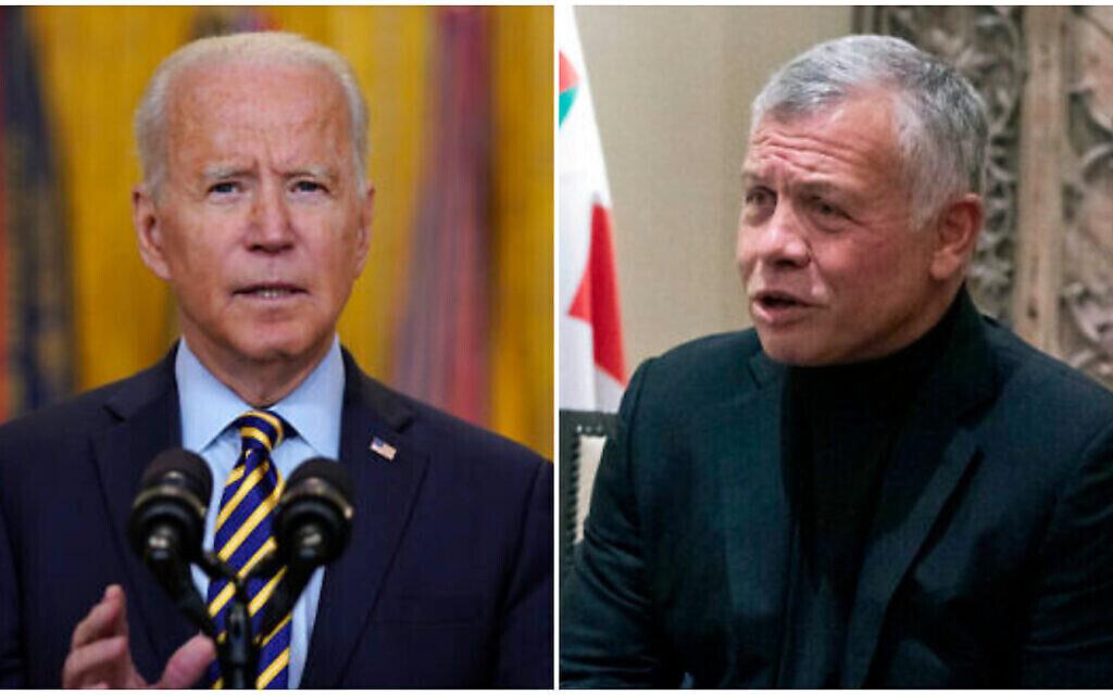 (G) Le président américain Joe Biden prend la parole le 8 juillet 2021, à Washington. (Crédit : AP Photo/Evan Vucci) (D) Le roi Abdullah II de Jordanie prend la parole le 26 mai 2021. (Crédit : AP Photo/Alex Brandon, Pool)