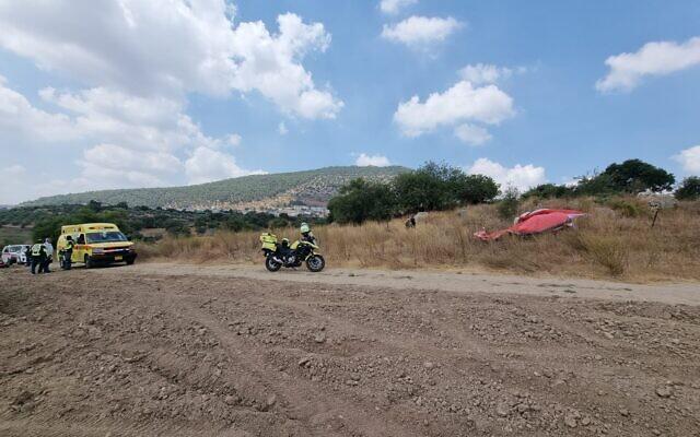 Le site d'un accident de parapente près de Kaduri le 23 juillet 2021. (Crédit : Magen David Adom)