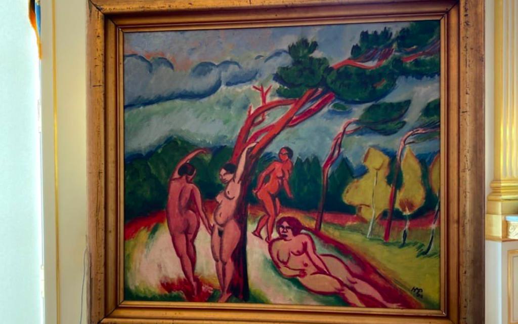 """Le tableau """"Nus dans un paysage"""" de Max Pechstein, peint en 1912. (Crédit : Twitter / Roselyne Bachelot / Ministère de la Culture)"""