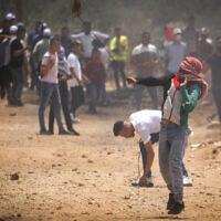 Heurts entre Palestiniens et forces de sécurité israéliennes au nord de la Cisjordanie, le 23 juillet 2021. (Crédit : Nasser Ishtayeh/Flash90)