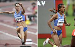 L'Israélienne Hanna Knyazyeva-Minenko, au saut en longueur, à gauche, et sa compatriote, la coureuse  Selamawit Teferi, à droite, lors des Jeux Olympiques de Tokyo, le 30 juillet 2021. (Crédit : Comité olympique israélien)