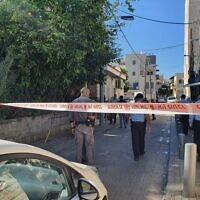 La scène où Mohammad Abu Nijm a été tué à Jaffa, le 24 janvier 2021. (Crédit : Police israélienne)