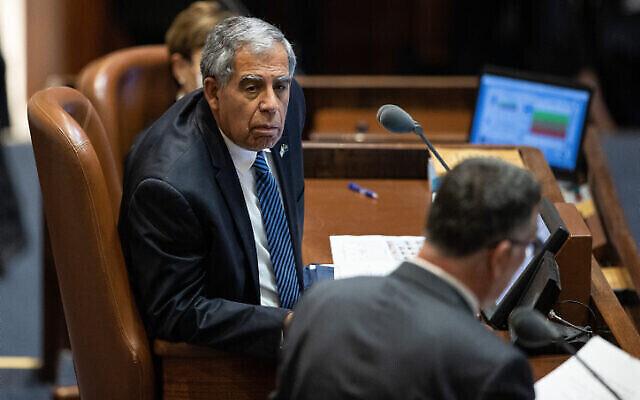 Le président de la Chambre des représentants Mickey Levy à la Knesset le 13 juillet 2021. (Crédit : Yonatan Sindel/Flash90)