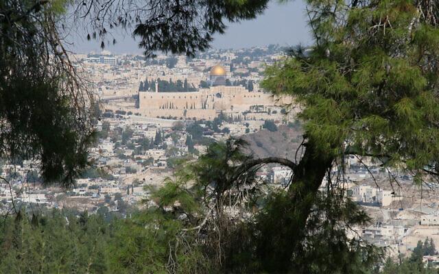 Une vue de la vieille ville depuis le sentier Goldman de Jérusalem, qui fait partie de la promenade Armon Hantaziv. (Crédit : Shmuel Bar-Am)