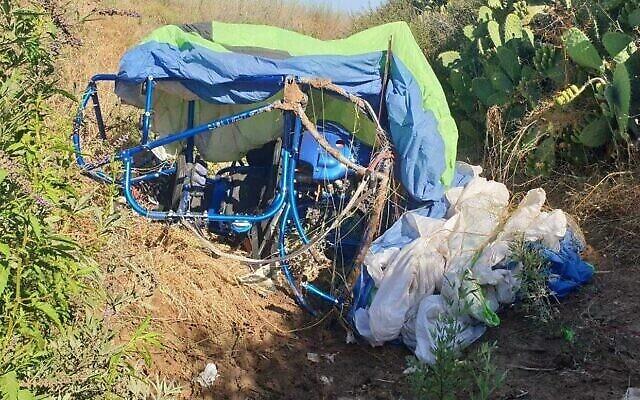 Le site d'un accident de parapente près de Modiin le 2 juillet 2021. (Police israélienne)
